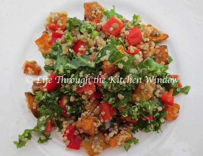 Kale & Quinoa Salad with Roasted Sweet Potato & Orange Vinaigrette | © Life Through the Kitchen Window.com