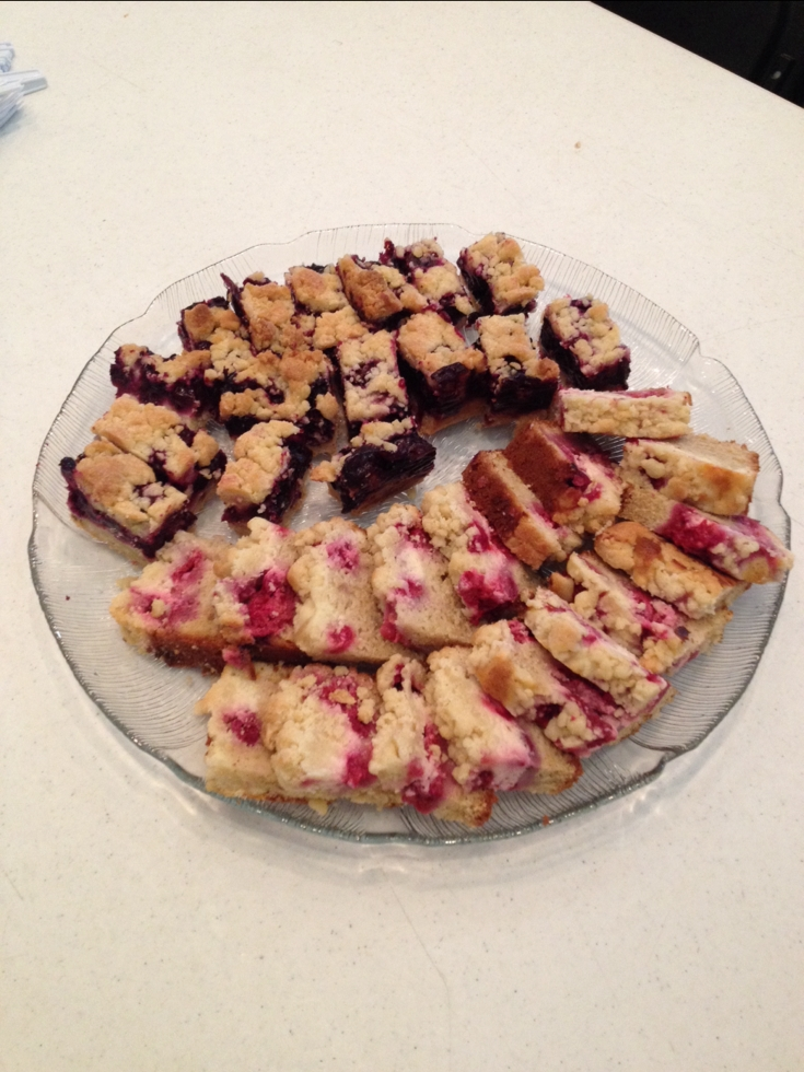 Raspberry Cream Cheese Coffee Cake (bottom) and Blueberry Shortbread Squares